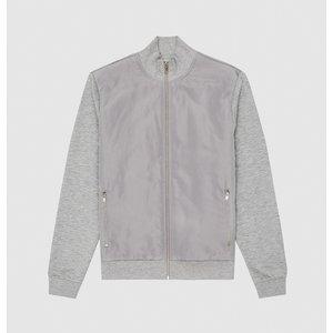 Reiss Steven - Hybrid Zip Through Jacket In Soft Grey, Mens, Size M Reiss41801243002, Soft Grey