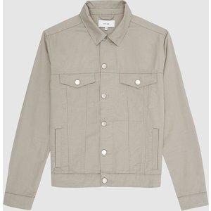 Reiss Surrey - Cotton Linen Trucker Jacket In Washed Sage, Mens, Size S Washed Sage Green Reiss14901453001, Washed Sage Green