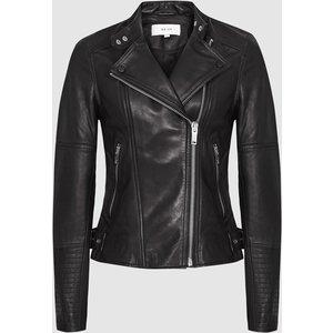 Reiss Tallis - Leather Biker Jacket In Black, Womens, Size 16 Reiss17500820016, Black
