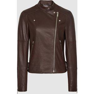Reiss Tallis - Leather Biker Jacket In Plum, Womens, Size 12 Brown Reiss17500861012, Brown