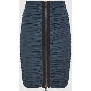 Reiss Tamara - Zip Detail Ruched Pencil Skirt In Teal, Womens, Size 8 Blue Reiss28711534008, Blue