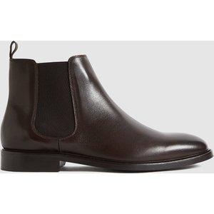 Reiss Tenor - Leather Chelsea Boots In Dark Brown, Mens, Size 12 Reiss81607215046, Dark Brown