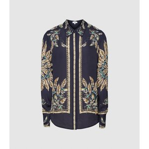 Reiss Tiff - Feather Printed Shirt In Navy, Womens, Size 16 Reiss46803130016, Navy