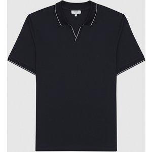 Reiss Tom - Open Collar Polo Shirt In Navy, Mens, Size M Reiss41717530002, Navy