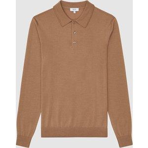 Reiss Trafford - Merino Wool Polo Shirt In Camel, Mens, Size Xl Brown Reiss51707113004, Brown