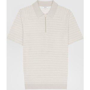 Reiss Verona - Striped Zip Neck Polo Shirt In Oatmeal, Mens, Size Xl Cream Reiss51702611004, Cream