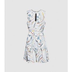 Reiss Vienna - Swirl Printed Mini Dress In Blue/grey, Womens, Size 4 Blue And Grey Reiss29837045004, Blue and Grey