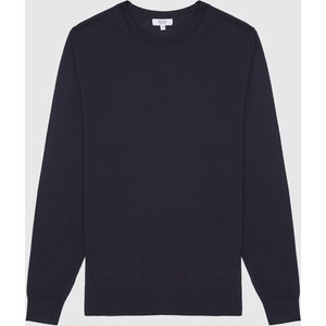 Reiss Wessex - Merino Wool Jumper In Navy, Mens, Size S Reiss51706530001, Navy