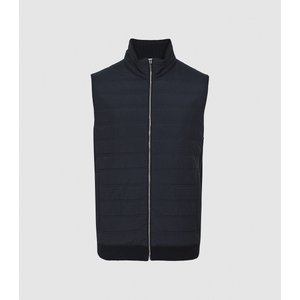 Reiss William - Quilted Gilet In Navy, Mens, Size L Navy Blue Reiss51713030003, Navy Blue