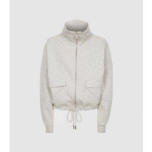 Reiss Zadie - Zip Through Loungewear Sweatshirt In Grey, Womens, Size S Reiss86803943001, Grey