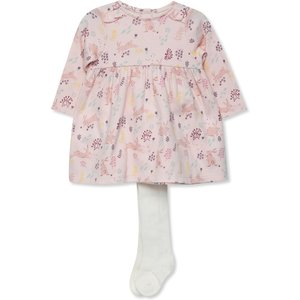 M&co Floral Print Dress And Tights Set (newborn-18mths)  - Pink 303068701300277, Pink