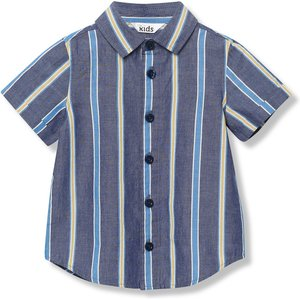 M&co Kids Boys Stripe Shirt With Short Sleeve - Blue 302208001000286, Blue