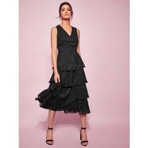 M&co Ladies Floral Tiered Midi Dress  - Black 170454000100014, Black