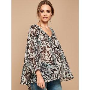 M&co Ladies Leopard Print Blouse  - Ivory 165228100440010, Ivory