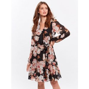 M&co Ladies Petite Glitter Floral Wrap Dress  - Black 191000000100008, Black