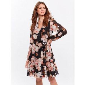 M&co Ladies Petite Glitter Floral Wrap Dress  - Black 191000000100014, Black