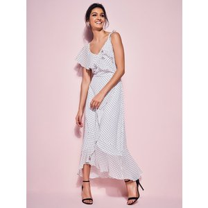 M&co Ladies Polka Dot Ruffle Midi Dress  - White 170458300300008, White