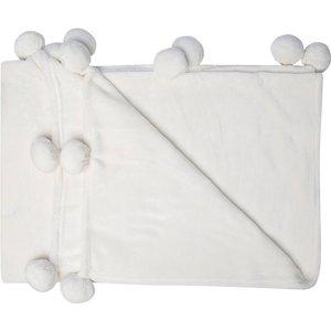 M&co Pom Pom Fleece Throw  - Cream 404020100400000, Cream