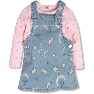 M&co Printed Pinafore Dress With Tee (9mths-5yrs)  - Denim Blue 303252309030286, Denim Blue