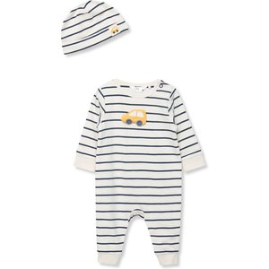 M&co Stripe Romper And Hat Set (newborn-18mths)  - Cream 302957300400284, Cream