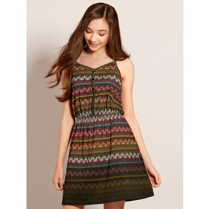 M&co Teen Girl Aztec Print Dress Sleeveless With Button Fr - Black 701147400100567, Black