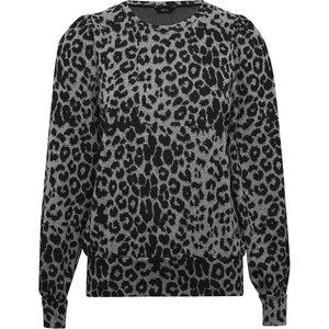 M&co Women's Animal Print Puff Sleeve Sweat Top Charcoal 101559100290010, Charcoal