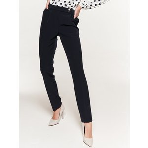 M&co Women's Ladies Navy Smart Tapered Trousers Zip Fly Centre Crease Pockets Crepe 108179901030644, Navy