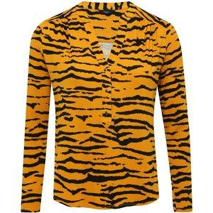 M&co Women's Ladies Petite Tiger Print Jersey Shirt With Long Sleeve Notch Neck Slim Fit Ochre 191016708520008, Ochre