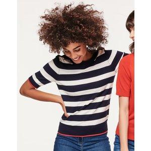 M&co Women's Ladies Short Sleeve Striped Jumper Navy/white 108303108860014, Navy/White