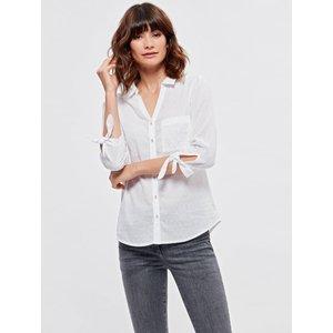 M&co Women's Ladies Textured Tie Sleeve White Shirt 108283300300020, White