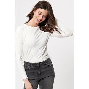 M&co Women's Long Sleeve Crew Neck Tee Shirt Ivory 109055000440014, Ivory