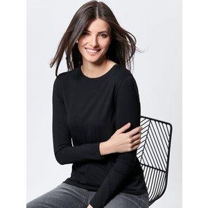 M&co Women's Long Sleeve Crew Neck Tee Shirt Black 109055000100024, Black