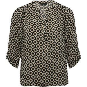 M&co Women's Petite Geometric Print Shirt Black 191139200100012, Black