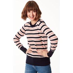 M&co Women's Stripe Jumper Navy 109347901030018, Navy