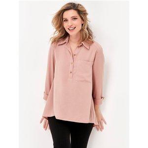 M&co Women's Twill Shirt Dusty Pink 109438609890016, Dusty Pink