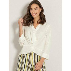 M&co Women's Vila Ladies White Shirt Cropped Knot Front Three Quarter Length Sleeves 181278500300008, White