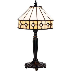 Happy Homewares Modern Chic Opal White Tiffany Table Lamp With Small Circular Clear Glass Beads By Happy H Hh6513 Cl Tl Hh6513 Cl Tl, White