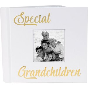 Happy Homewares Modern Special Grandchildren Photo Album With Gold Text - Holds 80 4x6 Pictures By Happy H White Hh820 Grch Hh820 Grch, White