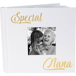 Happy Homewares Modern Special Nana Photo Album With Gold Foil Text - Holds 80 4x6 Pictures By Happy Homew White Hh820 Nan Hh820 Nan, White