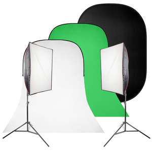 Pixapro Daylite4 Mkiii 3400w Twin Softbox Kit With 1.5x2m Black Collapsible Background & White/gre