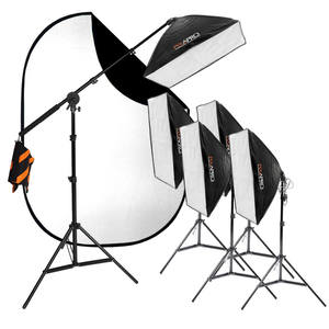 Pixapro Ezylite Continuous 5 Softbox Kit And 1.5x2m Black/white Collapsible Background