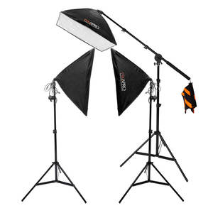 Pixapro Ezylite Softbox Three-head Continuous Lighting Kit With Boom Stand (3x105w)