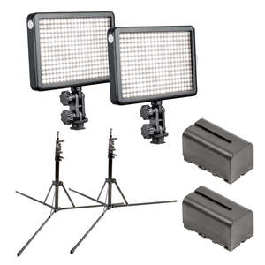 Pixapro Twin Led308 Kit With 2x Portable Light Stands And Batteries