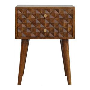 Artisan Furniture Chestnut Diamond Carved Two Drawer Bedside