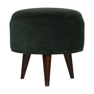 Artisan Furniture Emerald Green Velvet Nordic Style Footstool