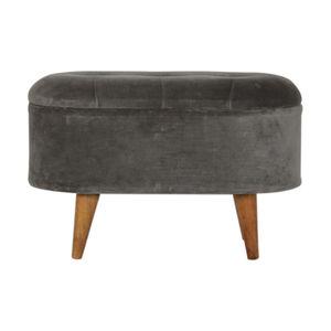 Artisan Furniture In1203 - Grey Tweed Curved Storage Footstool
