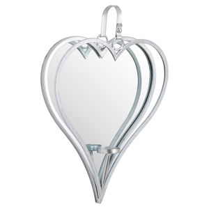 Hill Interiors Large Silver Mirrored Heart Candle Holder
