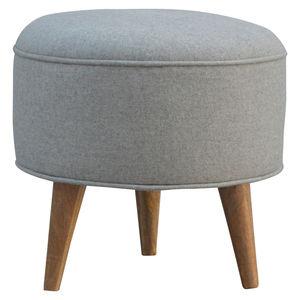 Artisan Furniture Nordic Style Round Grey Tweed Footstool
