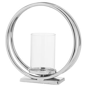 Hill Interiors Ohlson Silver Twin Loop Candle Holder