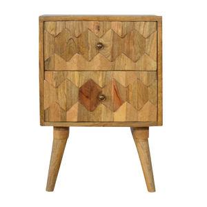 Artisan Furniture Pineapple Carved 2 Drawer Bedside Cabinet